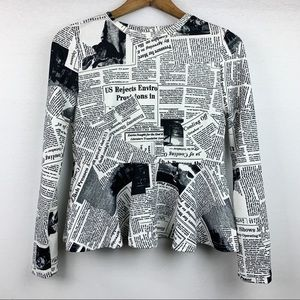 6 HR CCO SALE!*Shein Newspaper Print Peplum Blouse